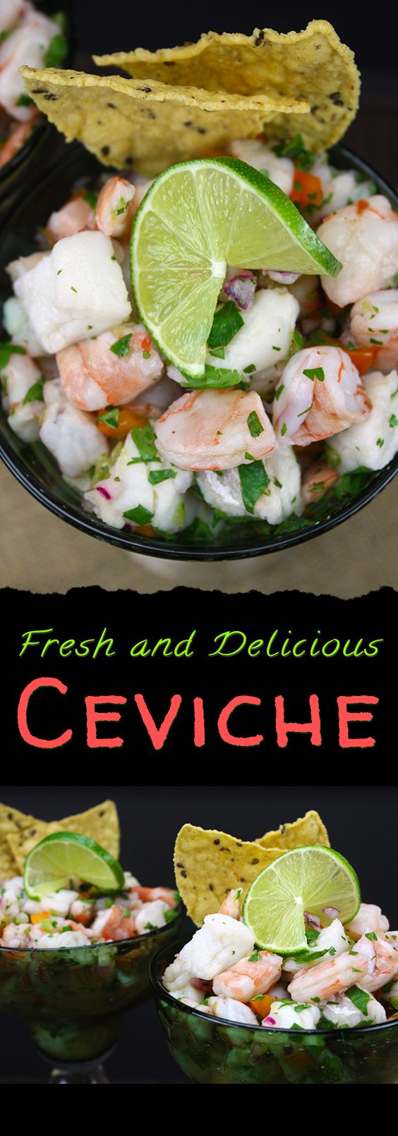 Ceviche - Easy, fresh, tangy and light shrimp and cod ceviche. Perfect for summer!