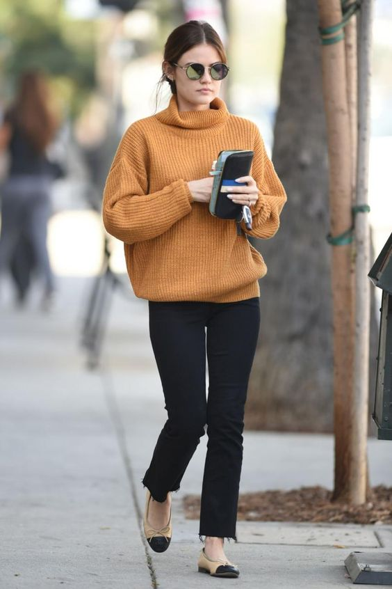 Lucy Hale wearing Chanel Cap-Toe Flats, Sunday Somewhere Sunglasses and Lovers + Friends Alexa Sweater: