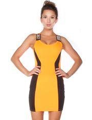 Studded Shoulder Colorblock Dress @ FlirtCatalog.com