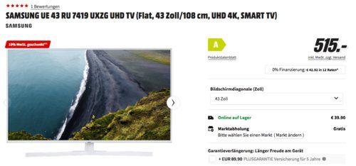 Samsung Ue43ru7419 43 Zoll Uhd Tv Weiss Tv Entertainment Samsung Smart Tv Samsung Und Tv Weiss
