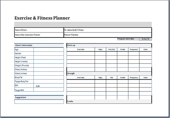 Exercise and Fitness planner template at    worddoxorg - sample patient complaint form