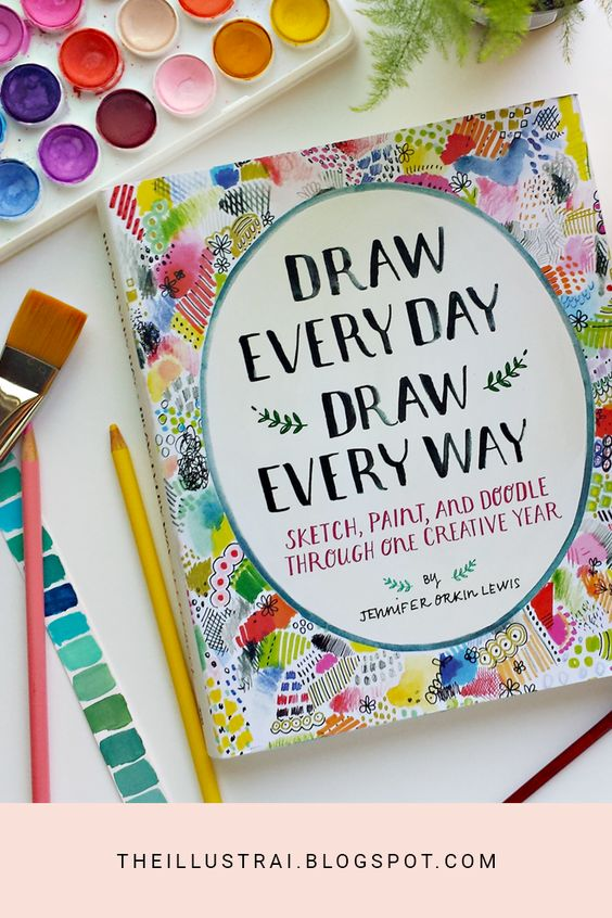 """Do you struggle with being creative everyday? Or do you not know what to draw? Jennifer Orkin Lewis' new book """"Draw Every Day Draw Every Way"""" may be the answer to your creative block. This sketchbook is full of art prompts that will surely help you practice being creative everyday. Check the blog for my overview of the book!"""