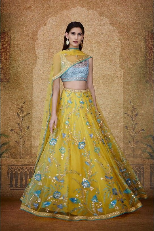 Indian Lehenga Choli Designs For Wedding Yellow outfit by Anita Dongre