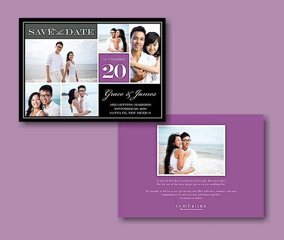 Block Purple Text Save the Date Card