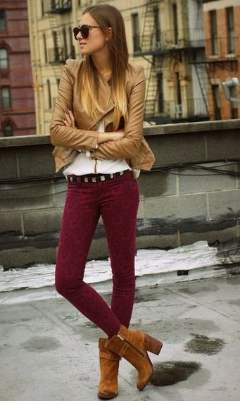outfit idea - brown boots, burgundy pants, camel jacket. (now without the spam redirect! ;))