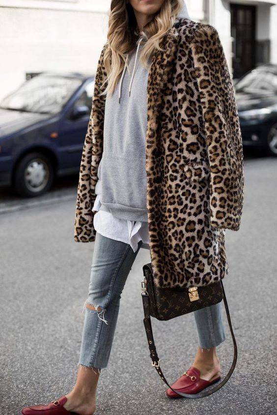 leopard jacket over hoodie and jeans #fallstyle #casualstyle #styleblogger #leopard #flats