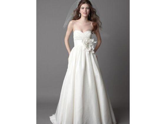 Watters Mimi Silk Taffeta Ball Gown Pleated Bodice and Empire Waist