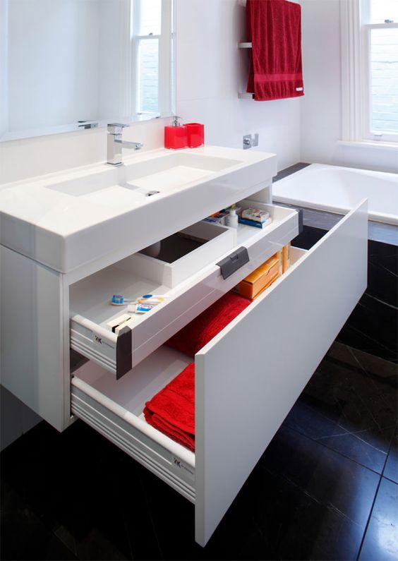 17 armários e gavetas de banheiro extremamente organizados para você se inspirar -> Armario De Banheiro Roca