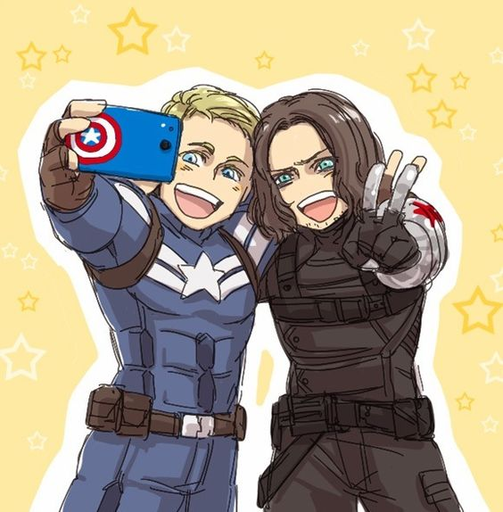 Bucky and Steve<<< It looks like america and france... France just got his hair dyed....#HETALIA!!!