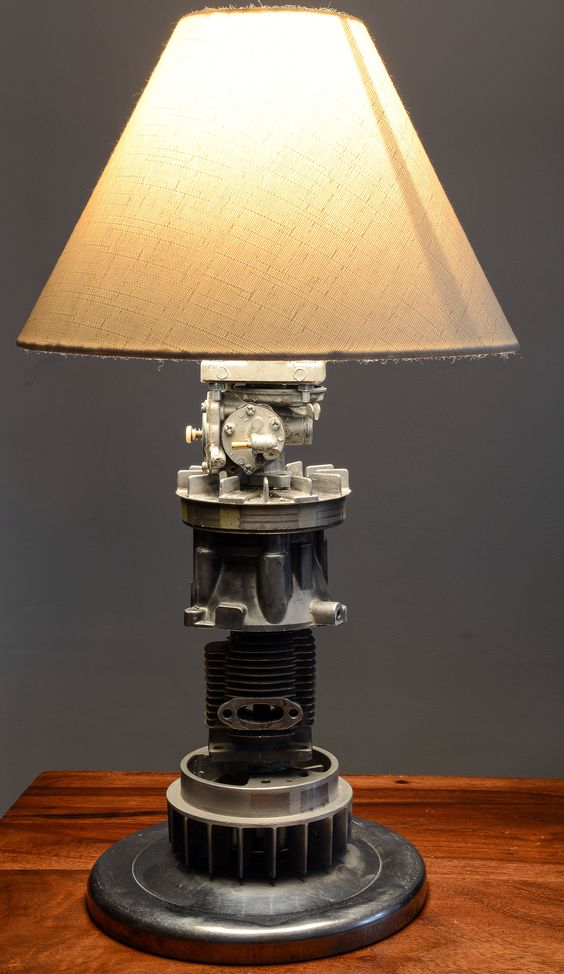 Parts Table Lamp : Table lamp from scrap engine parts includes hub cap
