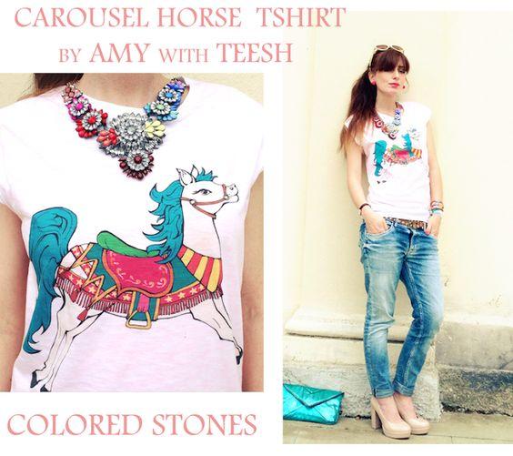 Carousel Horse  tshirt cavallo giostre Teesh ,collana pietre colorate modello shorouk, virgola fashion, pumps beige nude, the fashionamy blo...#flamingos #flamingo #summer #fashion #girl #tshirt #tee #colorful #pastels #pastelcolors #romantic #fairytales #girls #fashionblogger #fashionblog #style #illustration #design #tshirtdesign #tee #brands #coral #summer #summerfashion #trend #summertrend #carouselhorse #carousel #luapark #statementnecklace #necklace