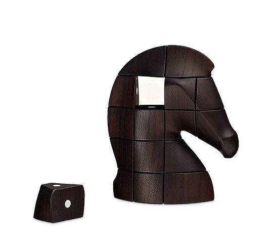 """Samarcande Hermes puzzle in Java solid palissander wood. Sculpted wood with magnets. Height: 6.3"""""""