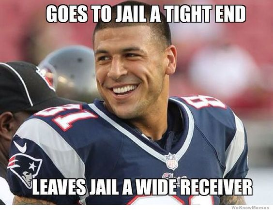 Aaron Hernandez gif | Aaron Hernandez – meme: Goes to jail a tight end…