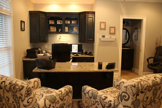 Custom Office Cabinets. Wellborn Cabinetry. Braided accents. Blue Cabinets.
