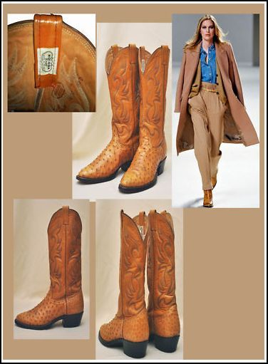 I love my mexican boots there was a time I use to go to Houston for having fun, the city of fried...food now those gorgeous ostrich pair at ebay http://cgi.ebay.fr/Santiago-boots-texannes-autruche-T-41-5-/171073487124?pt=FR_Chaussures_pour_hommes=item27d4c64114