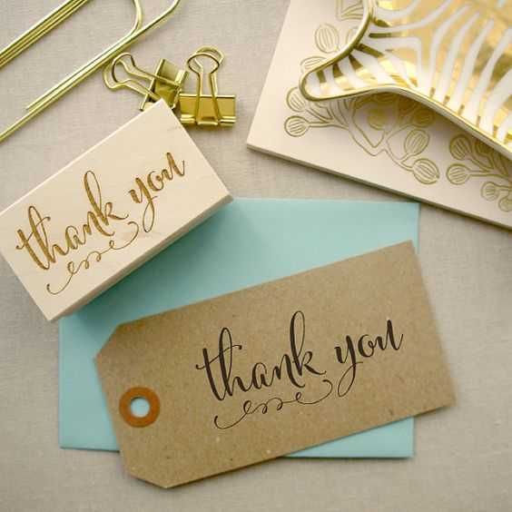 Calligraphy Thank You Stamp Custom Gift Tags and Cards Custom