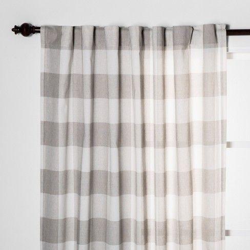 Plaid Light Filtering Curtain Panels Gray Threshold Panel