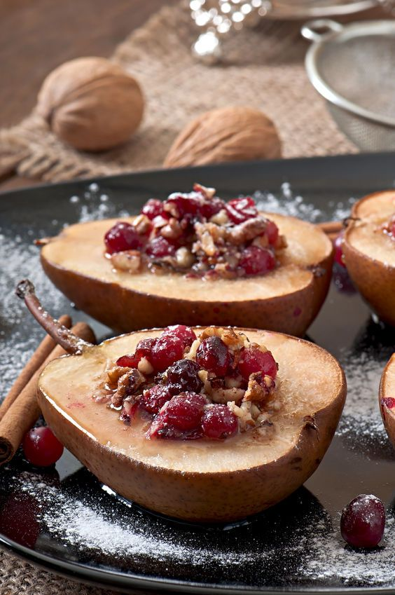 baked cardamom pears with cranberries and raisins recipe cranberries pears and desserts