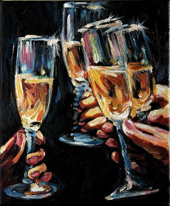 Purple Bowls Wine Bottels Modern Canvas Painting Wall Art: Champagne Glasses Still Life Oil Painting On By