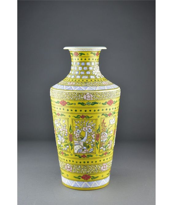 Chinese Yellow Ground Rouleaux Vase Kangxi