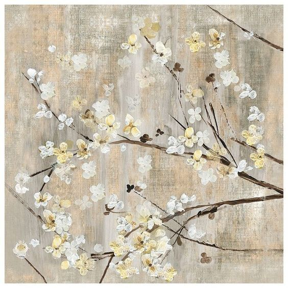 ''Pearls in Bloom I'' Wall Art, Multi/None ($54) ❤ liked on Polyvore featuring home, home decor, wall art, flower wall art, flower home decor, flower stems, blossom wall art and floral wall art