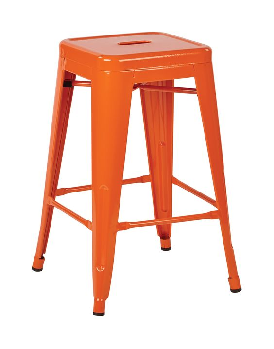 "Office Star Patterson 24"" Steel Backless Barstool in Orange Solid Finish Fully Assembled 4-Pack [PTR3024A4-18]"
