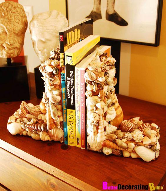 DIY Seashell Book Ends