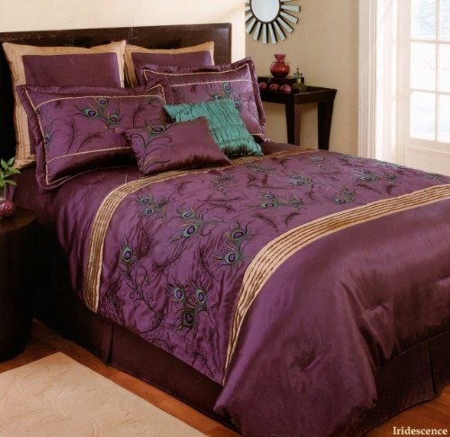 Extreme Linen Iridescence Plum Peacock 8 Piece Embroidered