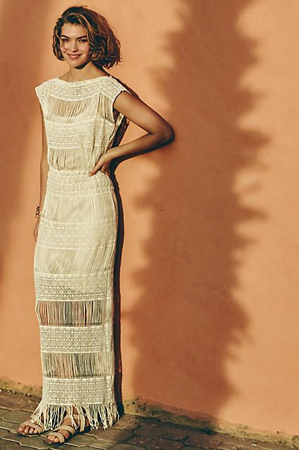 fringed crochet maxi dress