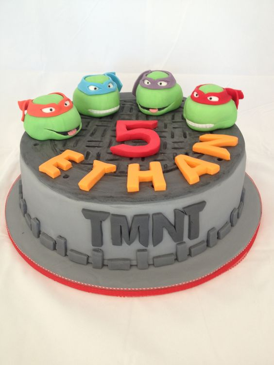 Cake Decorating Ideas For 4 Year Old Boy : Ninja turtle cake for a 5 year old boy!The cake is choc ...