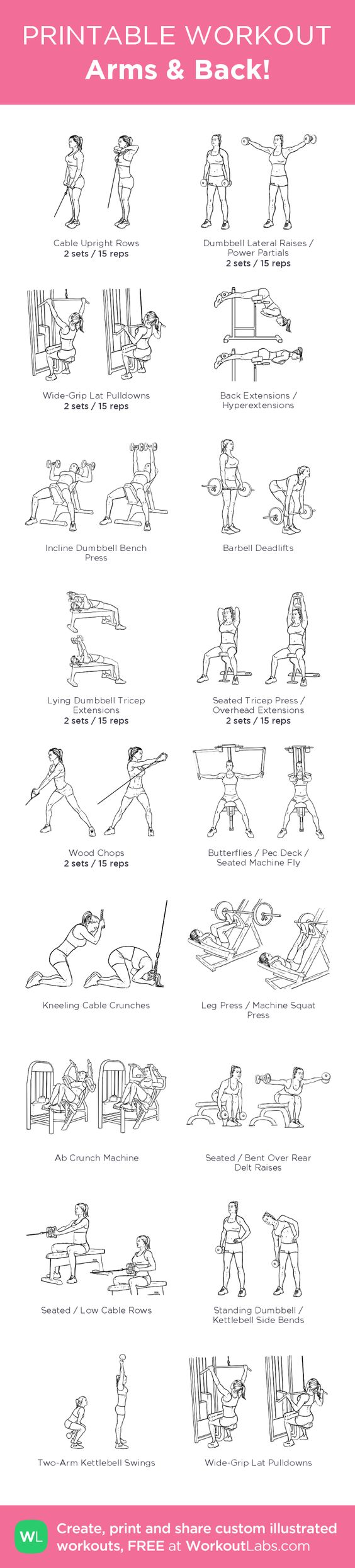 Arms & Back! –illustrated exercise plan created at WorkoutLabs.com • Click for a printable PDF and to build your own #customworkout
