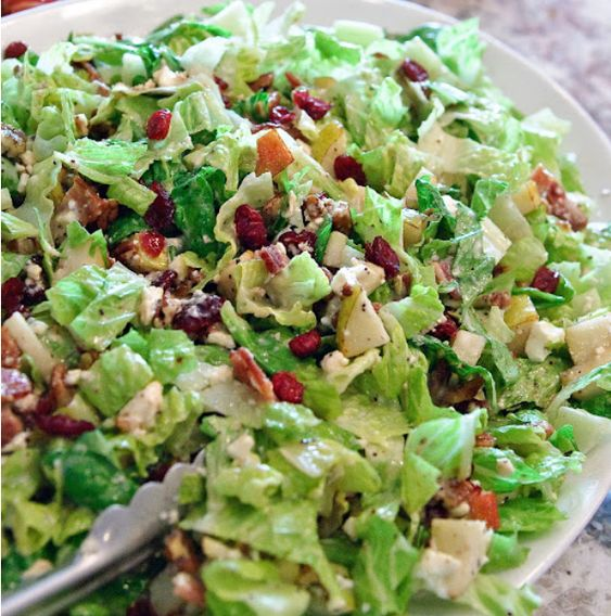 Autumn Chopped Salad: cranberries, pecans, feta, pears, bacon, on romaine