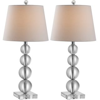 @Overstock - Your decorating future is brighter with the Millie stacked crystal ball lamps, a stunning study in contemporary design. With silver fittings and slightly tapered white cotton bell shade in a linen weave, Millie adds a touch of fun to any room.http://www.overstock.com/Home-Garden/Indoor-1-light-Millie-Crystal-Table-Lamps-Set-of-2/7637962/product.html?CID=214117 $195.29: