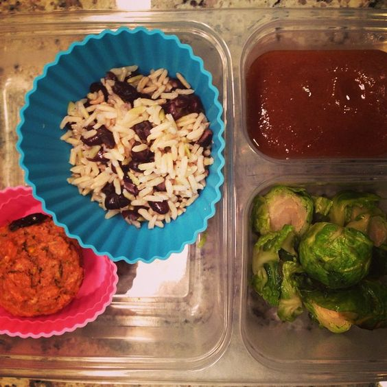 School lunch: brown rice and #beans, #homemade #pear sauce, #brusselssprouts, #homemade #zucchini #chocolate chip #muffin. #schoollunch #freezer #freezermeals #SuperStartsHere