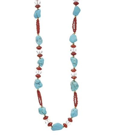 Another great find on #zulily! Magnesite & Red Sponge Coral Bead Necklace #zulilyfinds