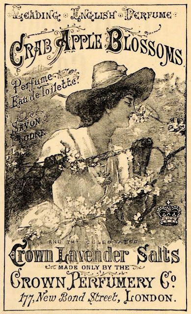 Vintage ad for Crown Perfumery Co., London, featuring Crab Apple Blossoms perfume and Crown Lavender Salts: