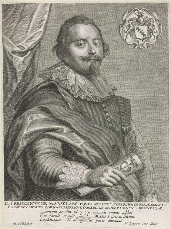 Adriaen Lommelin | Portret van Frederik de Marselaer, Adriaen Lommelin, 1630 - 1677 | Portret van Frederik de Marselaer, burgemeester van Brussel. In de rechter bovenhoek een cartouche met het familiewapen van de geportretteerde.