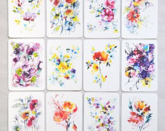 Bright flowers art, watercolor flower art, SET OF 12, mini prints, thank you cards, floral wall art, flower decor, colorful painting