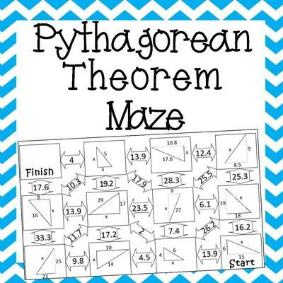 pythagorean theorem maze and mathematics on pinterest. Black Bedroom Furniture Sets. Home Design Ideas