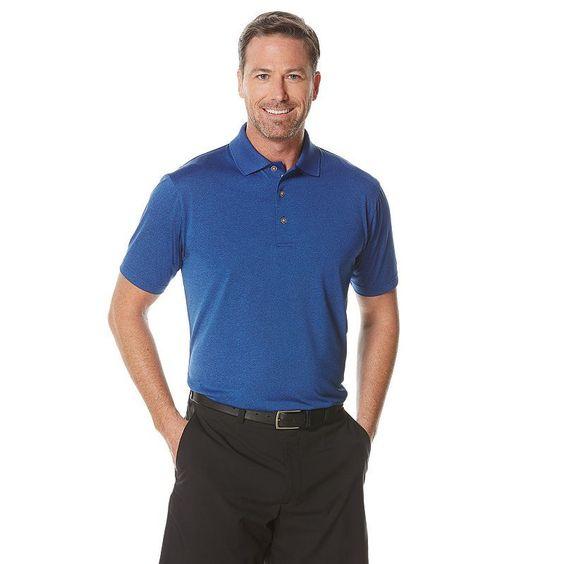 Big & Tall Grand Slam Classic-Fit Heathered Performance Golf Polo, Men's, Size: L Tall, Turquoise/Blue (Turq/Aqua)