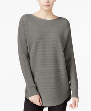 Bar Iii Ribbed High-Low Sweater, Only at Macy's - Gray XS