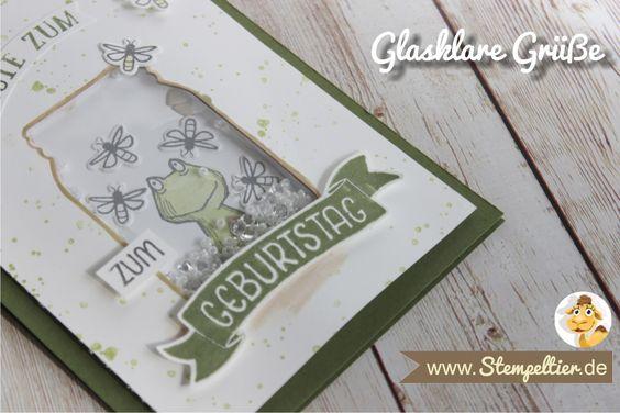 schüttelkarte vom Stempeltier mit glasklare Grüße und Love you lots Frosch von Stampin Up everyday Jars framelits