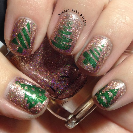 Christmas Trees and Bling nails