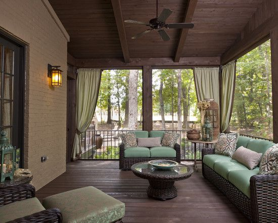 Porch designs porches and screened in patio on pinterest for Screened in back porch designs