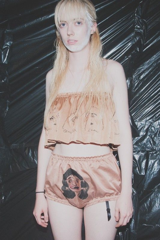 Illustrated lingerie at Claire Barrow SS15 LFW. More images here: http://www.dazeddigital.com/fashion/article/21684/1/claire-barrow-ss15