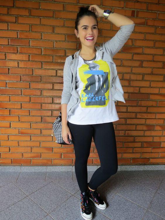 Mundo K: Blazer de moletom, t-shirt e legging.