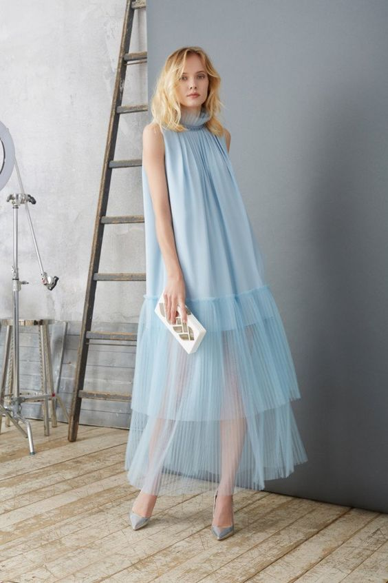 Stunning sky blue sheer gown with ruffled detail for Natalia Gart #resort #springsummer2018 #NataliaGart