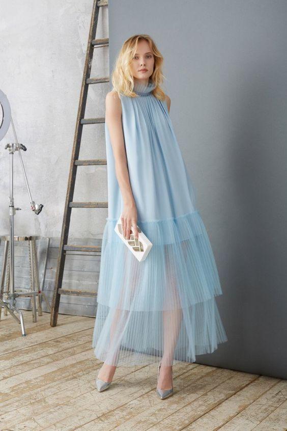 Stunning sky blue sheer gown with ruffled detail for Natalia Gart #resort #springsummer2018 #NataliaGart