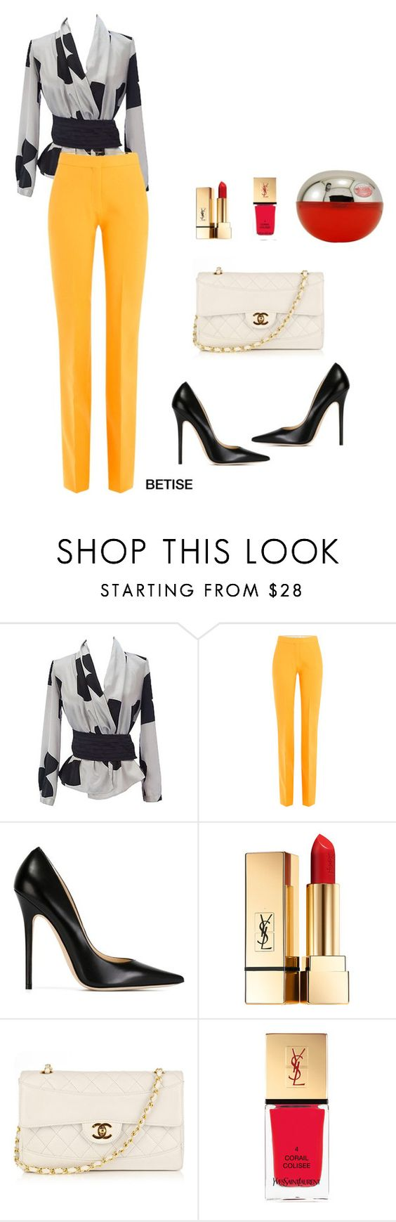 """""""CHIC ! ❤️"""" by betty-sanga ❤ liked on Polyvore featuring Emporio Armani, Victoria, Victoria Beckham, Jimmy Choo, Yves Saint Laurent and Chanel"""
