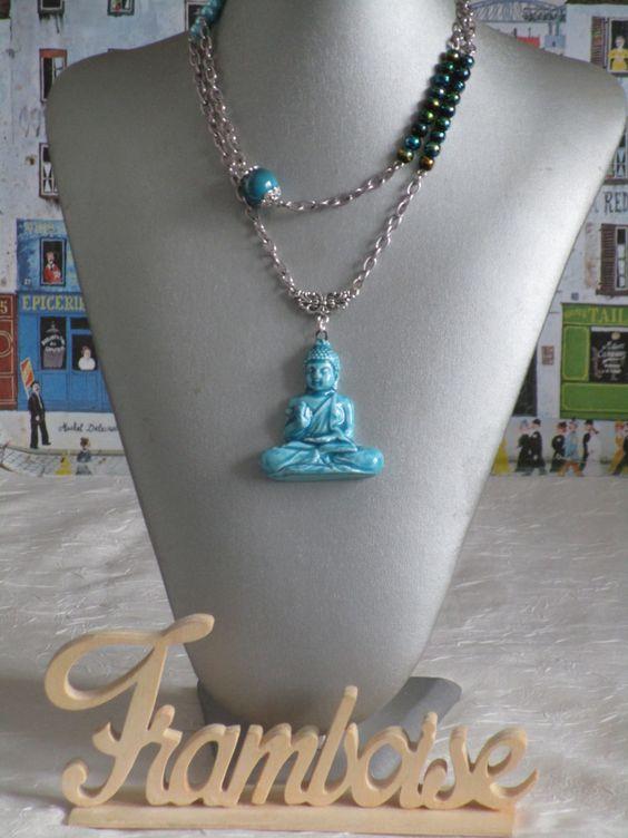 """Ravissant collier avec pendentif en céramique """"Bouddha"""" de la boutique framboisefrancoise sur Etsy"""